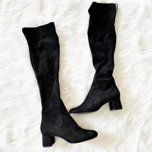 NEW Zara Black Faux Suede Over the Knee Boots